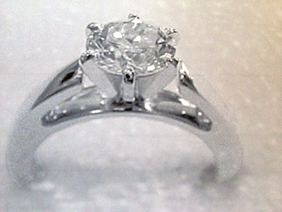 diamond and setting lost from platinum solitaire ring