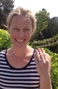 Anna with her Platinum engagement ring firmly secured by her wedding ring