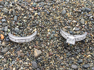 Beautiful platinum wedding and engagement rings found at Pacifica beach